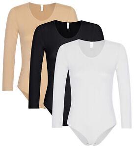 1 - 3 St. Damen langarm Body nahtlose Seamless Sport Tanz-Body Bodysuit