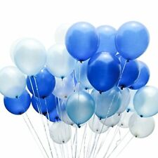 PartyWoo Blue and White Balloons 100 pcs 12 inch Royal Blue Balloons Light Blue
