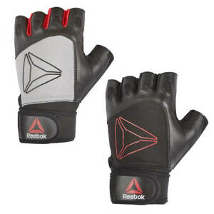 Reebok Weight Lifting Gloves Heavy Duty Padded Leather Gym Workout Wrist Wrap