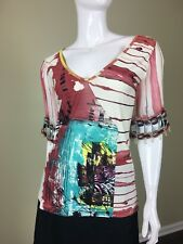 SAVE THE QUEEN Geometric Print V-Neck Short Sleeves Top L ITALY