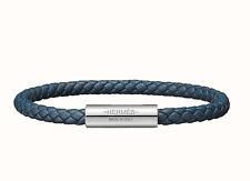 NWT/box  HERMES Men's Goliath Bracelet Leather Bleu w/ silver hardware w/receipt