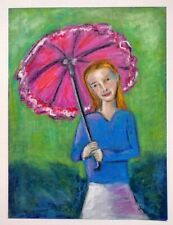 HINKLE Girl Pink Umbrella oil pastel PAINTING impressionism colorist Portrait