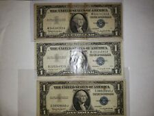 1935H 1957A 1957B $1 DOLLAR BILL SILVER CERTIFICATE BLUE SEAL NOTES - CIRCULATED