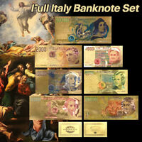WR Italy Color Gold Banknote Set 7 PCS 1000-500000 Lire Collectible Party Gifts