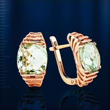 Russian Rose gold 14k/ 585 green amethyst earrings NWT stunning AWESOME!! 6,55g