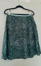 Esprit - ladies green coloured A line silk embroidered  skirt uk 10