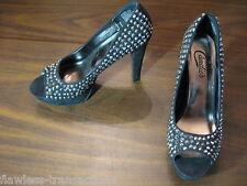 CANDIE'S Black Studded Round Peep-toe High Heel Stiletto Women Shoes Size 8.5