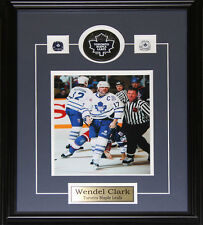Wendel Clark Signed puck with 8x10 frame