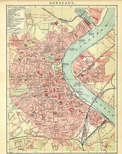 Historische alte Stadtkarte 1901: Bordeaux. Frankreich Stadtplan farbig (B14RA)