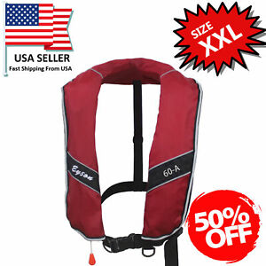 50% Off Extra Large Size Inflatable Life Jacket Life Vest Adults 275N XXL -Red