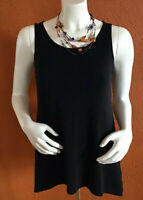 EILEEN FISHER 100% Silk Womens Scoop TANK TOP SZ.S Color Black, Longer Back Side