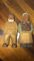 Antique Vintage Hand Carved & Painted Wood Fisherman and Woman Denmark Folk Art