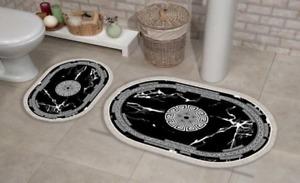 2 teilig Badematte, Badvorleger rutschhemmend medusa, marmor , oval 3189