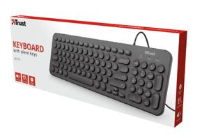 TASTIERA USB 2.0 TRUST MUTO SILENT MINI USB QWERTY NERO PC COMPUTER KEYBOARD