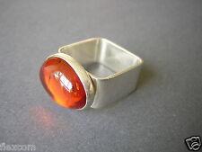 925 Silber Ring ovaler Honig Bernstein 4-eckige Ringschiene 8,3 g/RG 56 Amber
