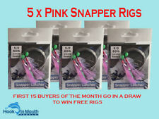5 Surf Fishing Rigs Pink - Paternoster - 60lb 5/0 Circle Hooks Snapper Flathead