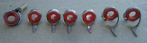 LOT OF VINTAGE FISHING ROD RED AGATE GLASS LINE GUIDES