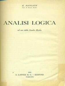 ANALISI LOGICA  PANIATE E. LATTES & C. 1952