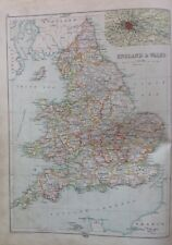 England And Wales, C1892 Antique Map,bartholomew, Century Atlas, Orignal