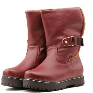 Ladies Retro Buckle Pull On Warm Winter Mid Calf Outdoor Buckle Snow Boots Size