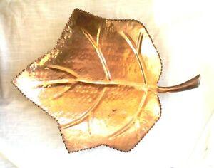Vintage Hand Hammered Leaf Shape Footed Solid Copper Tray