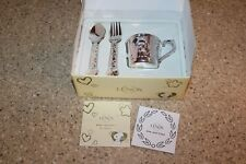 Lenox Baby Snoopy 3pc Feeding Set CUP SPOON FORK Silver Plated in Box Peanuts