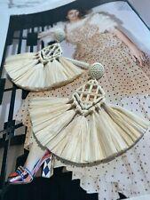 Latoir Fashion Blogger Cream White Raffia Paper Fringe Statement Drop Earrings