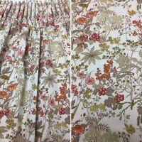 Vintage Pair Curtains & Tie Backs 70s Autumn Colours Hedgerow Wildflower Design