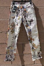 Just Cavalli JEANS  Women's BOHO IVORY FLORAL STRAIGHT Leg US 26 EUR 40 PEASANT