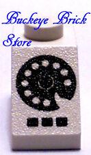Lego WHITE SLOPE 45 2x1 w/Rotary Phone BLACK Pattern 1966 4030 6385 6373
