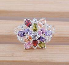 Women fashion jewelry  925 silver Multicolor zircon wedding ring size12 S13-12