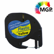 2x Generic LetraTag Plastic Tape for Dymo 91202 SD91202 Black on Yellow 12mmX4m