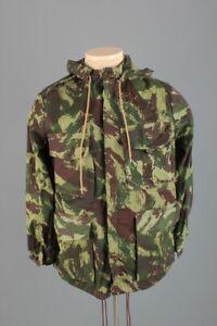 Vtg Men's Portuguese HBT Lizard Camo Hooded Smock Jacket 6 Small 60s 70s Shirt