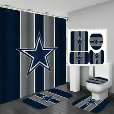 Dallas Cowboys Bathroom Rug Shower Curtain Bath Mat Toilet Lid Cover 4PCS Gifts