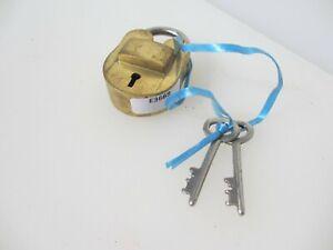 Small Late Vintage Brass Padlock Lock Iron Key Old