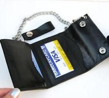 BLACK GENUINE LEATHER Biker's Wallet Holder Chain ID Trifold Holder Trucker Mens