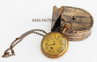 Antique Brass Vintage Nautical Style King 1920 Pocket Watch With Chain