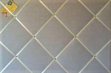 90x60cm Grey with Cream Ribbon Crafted Fabric Notice Memo Pin Notice Board