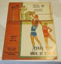 1960 Kansas vs. Texas Tech College Basketball Game Program Bill Bridges Perkins