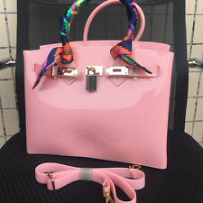 Pink ! Women  Metal Buckle Candy Color PVC Jelly Handbag Plastic Tote Bag Beach