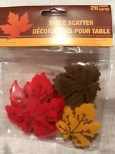 """Felt Leaf Table Scatter Scrapbooking Crafts Red Green Gold 20 count 2"""" to 3"""" New"""
