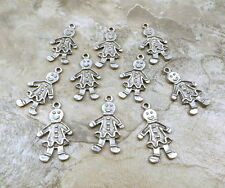 Set of 10 Pewter GINGERBREAD GIRL- Christmas Charms - 5269