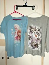 Lot 2 Shirts Tops Tees Disney Frozen Elsa Olaf Short Long Sleeve XL Blue Grey