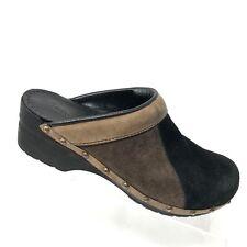 Sanita Mule Brown Black Suede Patchwork Clog Womens Shoe SIZE 39 / US 8 - 8.5