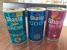 Shasta Soda cans.All 3 different styles. All pull top,straight steel no bar code