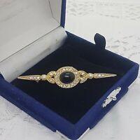 VINTAGE Art Deco Style Bar Brooch Collar Lapel Pin Sparkly Gold Tone Black Stone
