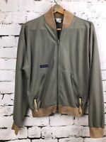 Vintage Columbia Sportswear Bomber Jacket Olive Green Rare Upside Down Logo Sz M