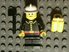 1980 LEGO CITY FIREMAN CAPTAIN MINIFIGURE WITH GREY/YELLOW OXYGEN TANK & AX RARE