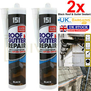 2x Black Roof Gutter Sealant Waterproof Silicone Cartridge All Weather Shed 151