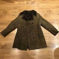 Bailys Vintage Sheepskin Jacket Shearling Coat Brown Size 16